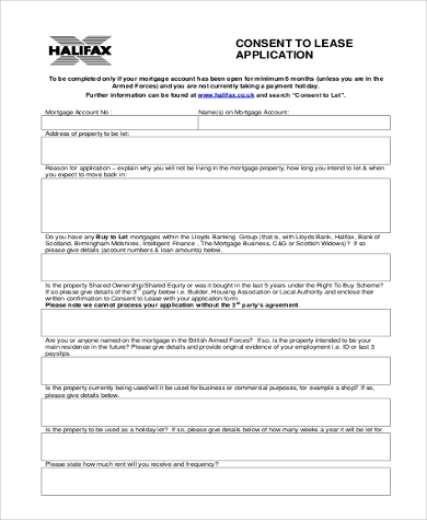 blank consent to lease application form