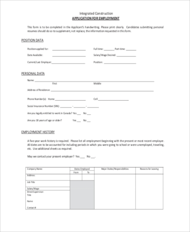 blank construction employment application