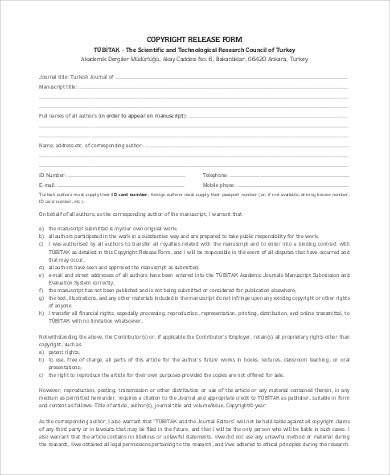 blank copyright release form