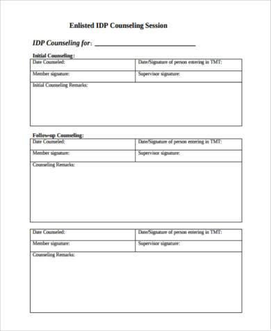 blank developmental counseling form