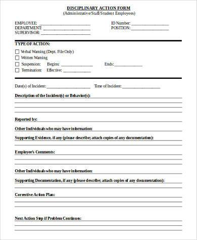 blank disciplinary action form