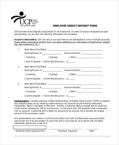 Employee Direct Deposit Form - Template