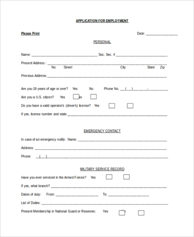 blank employment application word document
