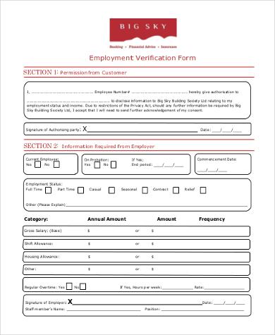 blank employment verification form