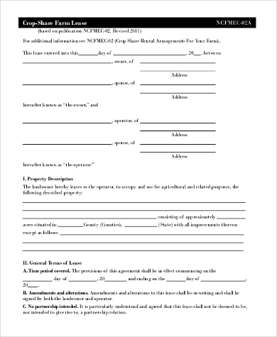 blank farm lease form
