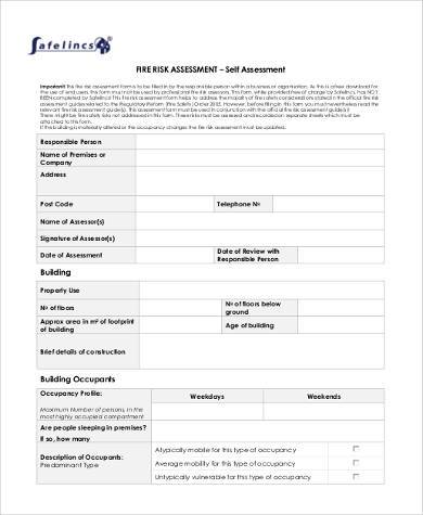 blank fire risk assessment form
