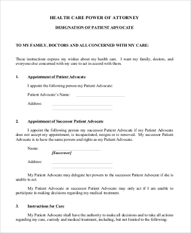 Health Care Power Of Attorney Form   Free Documents In Pdf