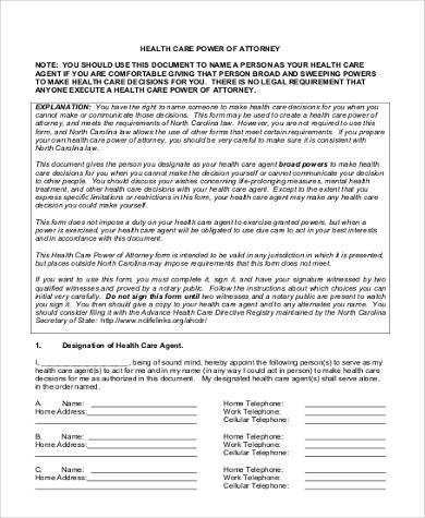 blank health care power of attorney form2