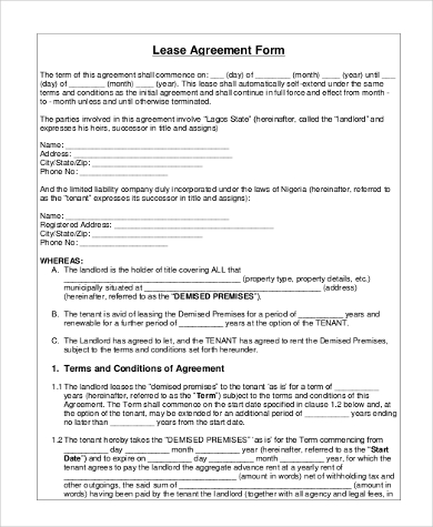 blank lease agreement form