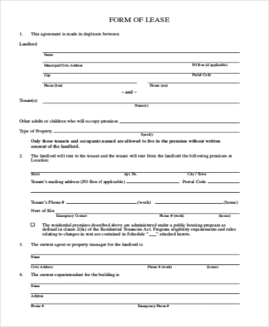 blank lease form free in pdf