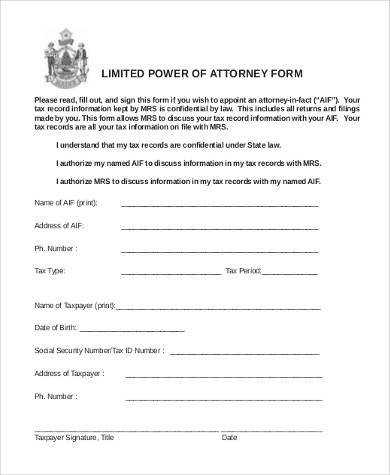 blank limited power of attorney form