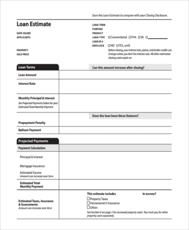 blank loan estimate form pdf