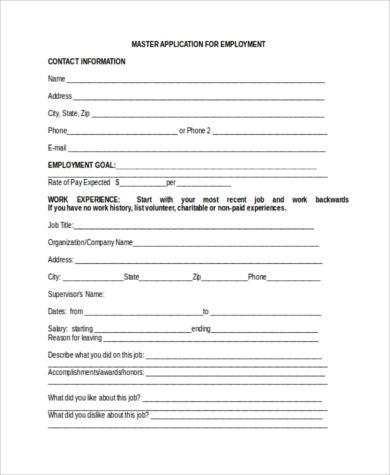 blank master employment application