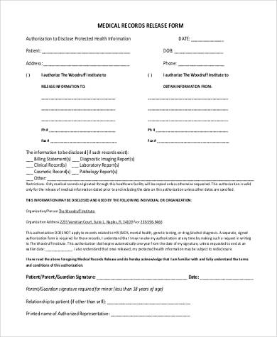 Blank Medical Records Release Form  Blank Medical Forms