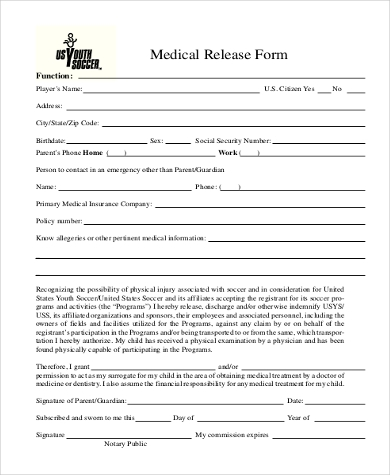 blank medical release form