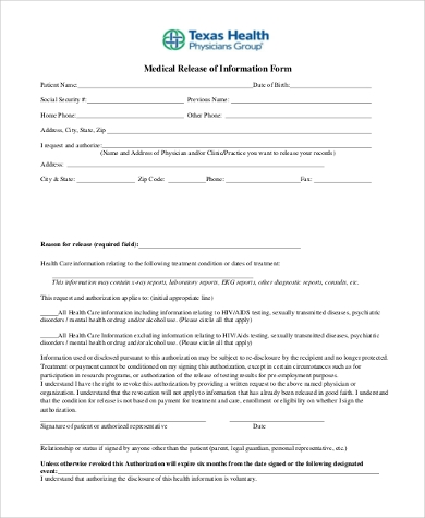 blank medical release of information form