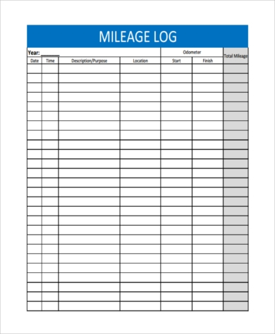 blank mileage tracker form example