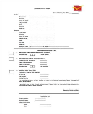 FREE 8+ Sample Money Order Forms | PDF