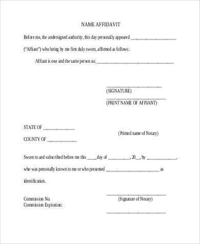 Blank Name Affidavit Form  Blank Affidavit