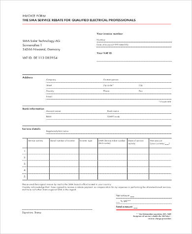 blank printable invoice form