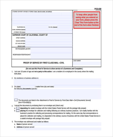 blank proof of service form example