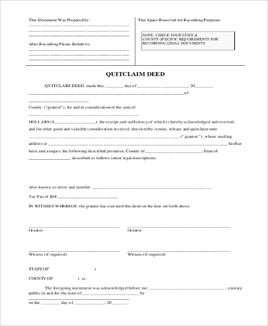 Quitclaim Deed Sample Form   Free Documents In Word Pdf