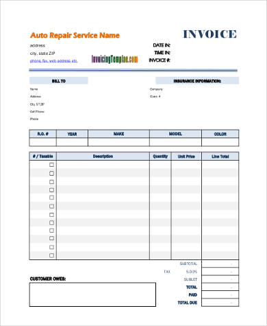 blank repair invoice form