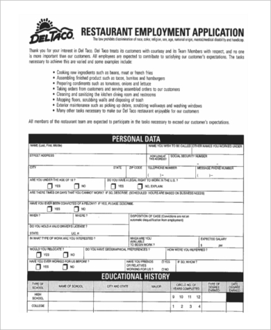 blank restaurant employment application1