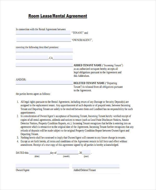 blank room lease agreement example