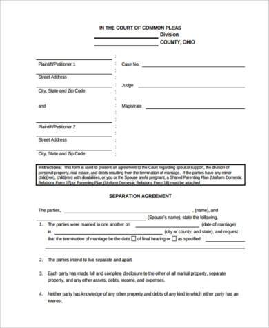 blank separation agreement form1