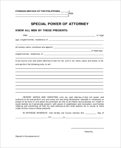 Special power of attorney form 7 free documents in word for Special power of attorney template free