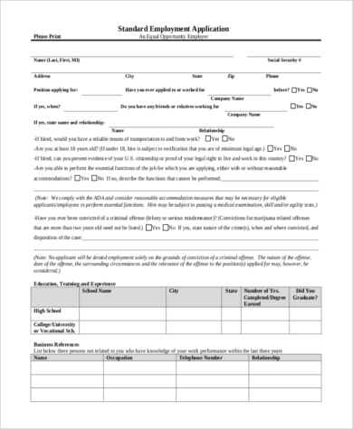 blank standard employment application