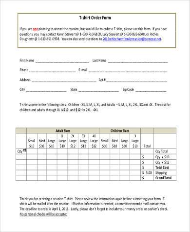 Blank-T-Shirt-Order-Form1 T Shirt Order Form Examples on printable pdf, 5th grade, samples for, 80s mags, front back, free printable blank, 20-person blank chart,
