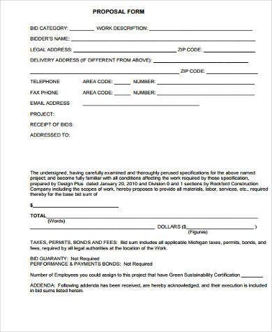Sample Work Proposal Forms   Free Documents In Word Pdf
