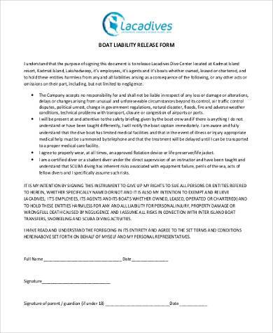 boat liability release form