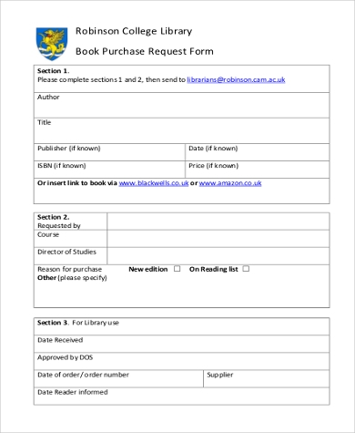 book purchase request form pdf