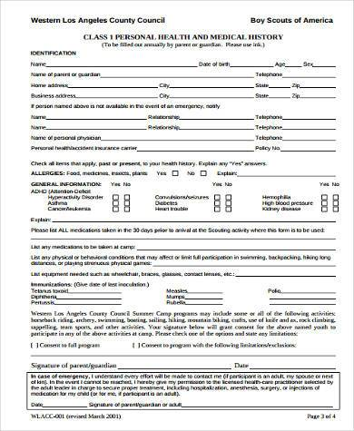 Sample Boy Scout Physical Forms   Free Documents In Word Pdf