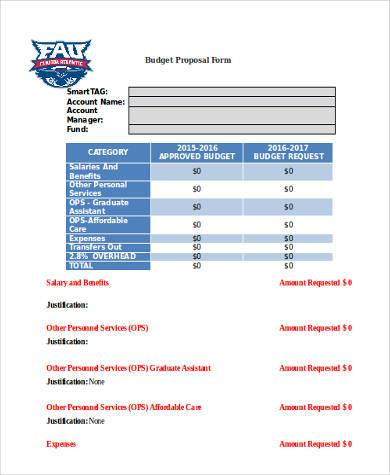 budget proposal form in word format