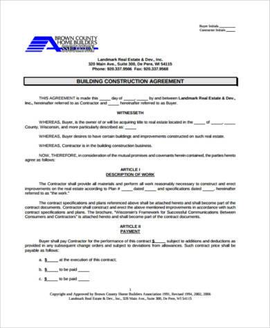 building construction agreement form