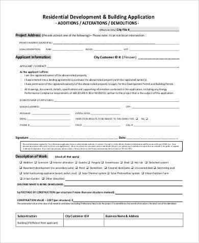 building construction application form