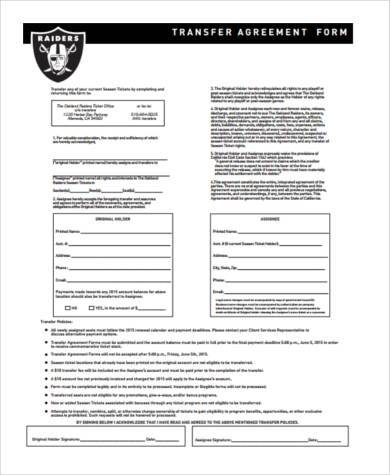 buisness transfer agreement form