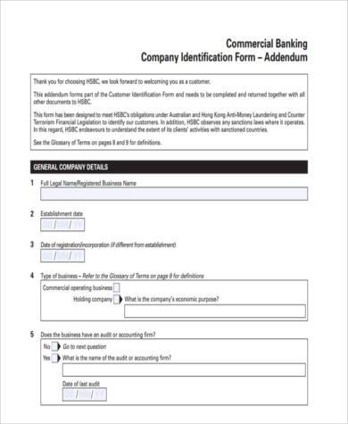business accounting addendum form