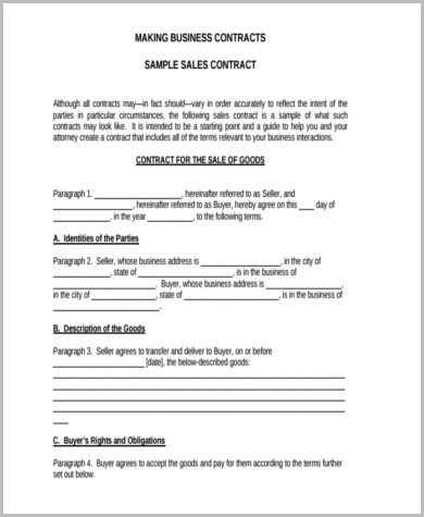 Sample Business Contract   Free Documents In Word Pdf