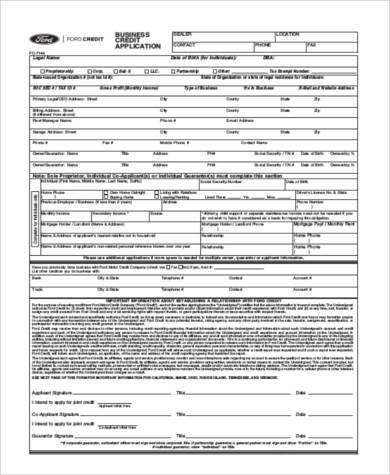 business credit application form pdf
