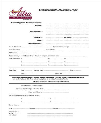 Sample Business Credit Application Forms   Free Documents In Word