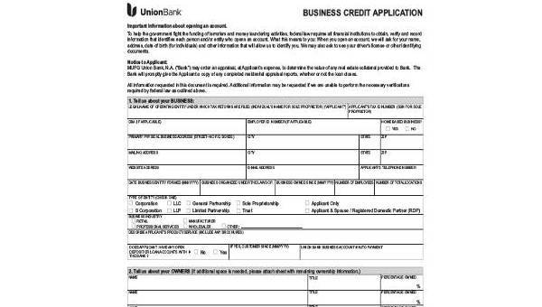 business credit application form samples 8 free documents in pdf