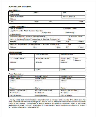business credit application form word