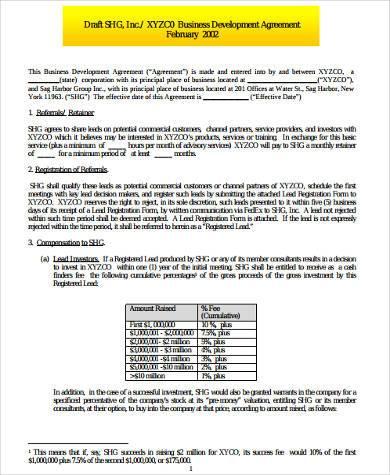 business development agreement form1