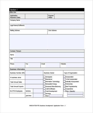business development application form