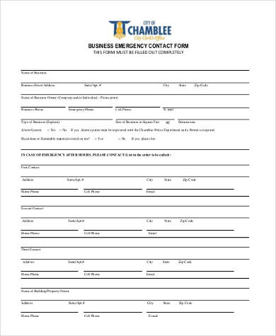 business emergency contact form